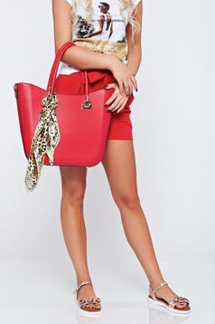 Geanta dama office rosie accesorizata cu esarfa