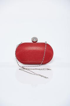 Geanta dama plic rosie cu accesoriu metalic cu aplicatii cu sclipici