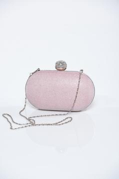 Geanta dama plic roz deschis cu accesoriu metalic cu aplicatii cu sclipici