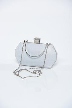 Geanta dama argintie de ocazie cu aplicatii cu sclipici