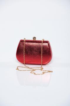 Geanta dama de ocazie rosie cu aspect metalic