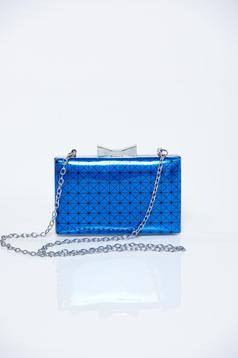 Geanta dama de ocazie albastra cu aspect metalic