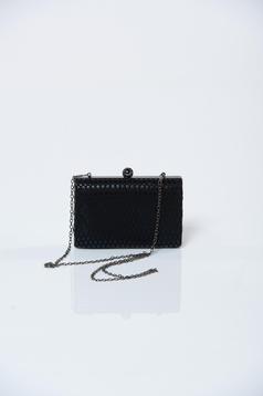 Geanta dama de ocazie neagra cu accesoriu metalic