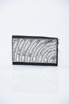 Geanta dama de ocazie neagra cu aplicatii cu perle
