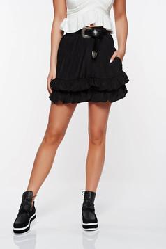 Pantalon scurt StarShinerS negru casual cu croi larg din material vaporos cu talie inalta