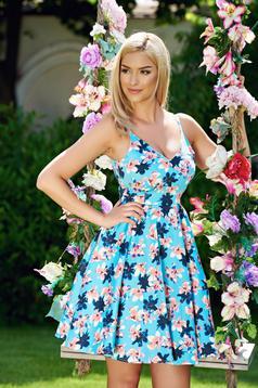 Rochie StarShinerS albastra in clos cu bretele cu decolteu in v