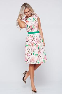 Rochie in clos din bumbac LaDonna piersica cu imprimeuri florale