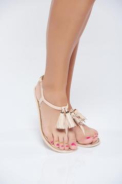 Sandale casual crem cu talpa joasa cu franjuri