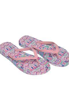 Papuci Top Secret rosa de plaja cu print
