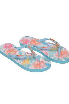 Papuci Top Secret turcoaz de plaja cu print