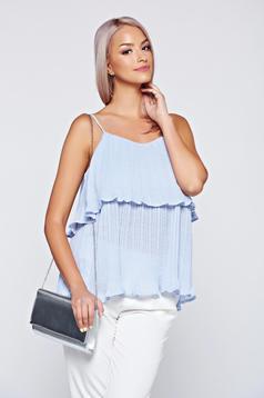 Bluza dama Top Secret albastra-deschis cu bretele din material vaporos