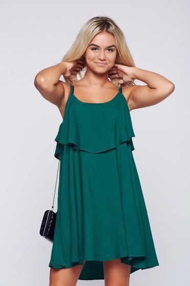 Rochie Top Secret verde casual cu croi larg cu bretele