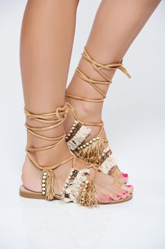 Sandale maro cu talpa joasa din piele intoarsa ecologica cu franjuri
