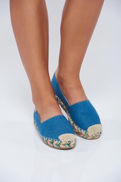 Espadrile cu talpa usoara albastri din material de jeans