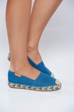 Espadrile albastri din denim cu talpa usoara din material impletit