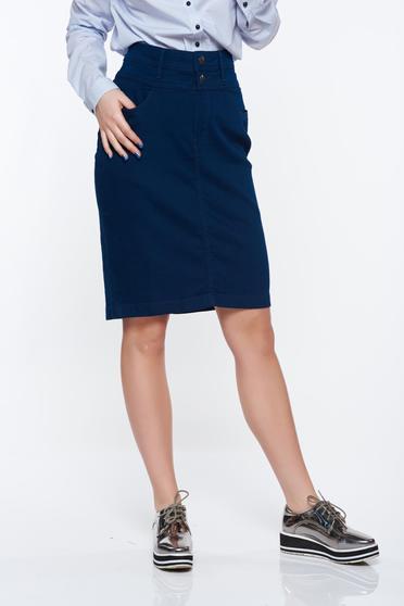 Fusta Top Secret albastra-inchis casual cu talie inalta cu buzunare