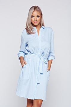 Camasa dama Top Secret albastra-deschis din bumbac cu croi larg