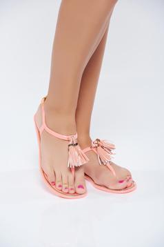 Sandale casual portocalii cu talpa joasa cu franjuri