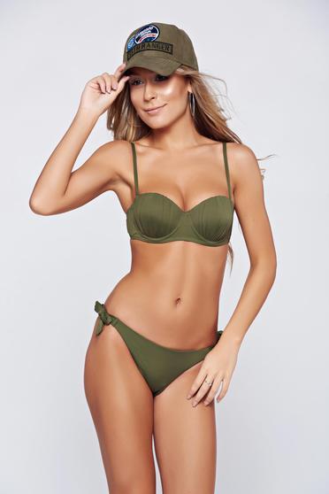 Costum de baie cu slip brazilian verde cu sutien balconet cu push-up
