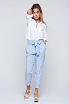 Pantaloni PrettyGirl albastri deschis casual din bumbac cu buzunare