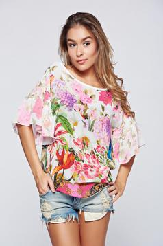 Bluza dama PrettyGirl rosa din material vaporos cu maneci tip fluture