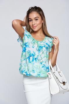 Bluza dama LaDonna verde-deschis eleganta cu elastic in talie cu imprimeu floral