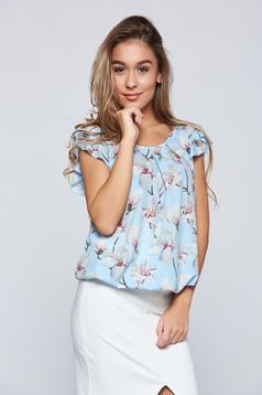 Bluza dama LaDonna albastra-deschis eleganta cu elastic in talie cu imprimeu floral