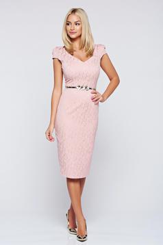 Rochie Fofy rosa eleganta tip creion cu accesoriu tip curea
