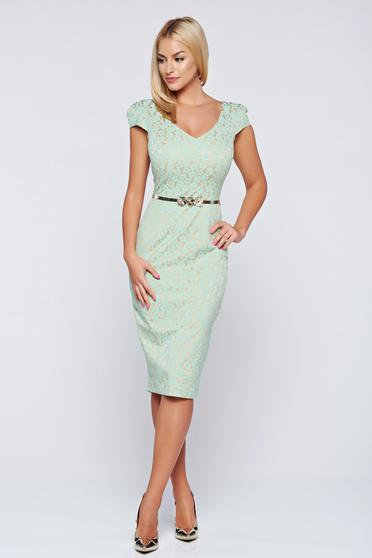 Rochie Fofy verde eleganta tip creion cu accesoriu tip curea