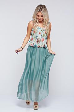 Rochie verde-inchis lunga de zi brodata