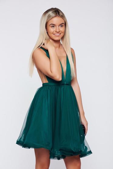 Rochie Ana Radu verde-inchis de ocazie in clos cu tul