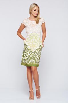Rochie Fofy verde eleganta cu croi larg cu buzunare