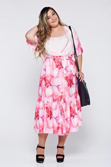 Rochie tip kimono Festival Look by PrettyGirl rosa cu croi larg din material vaporos