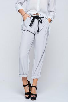 Pantaloni PrettyGirl gri casual cu croi larg cu buzunare