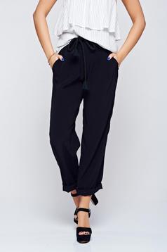 Pantaloni PrettyGirl negri casual cu croi larg cu buzunare