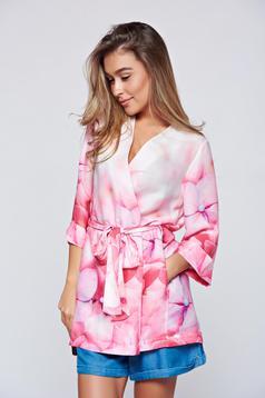 Kimono Festival Look by PrettyGirl roz scurt cu croi larg