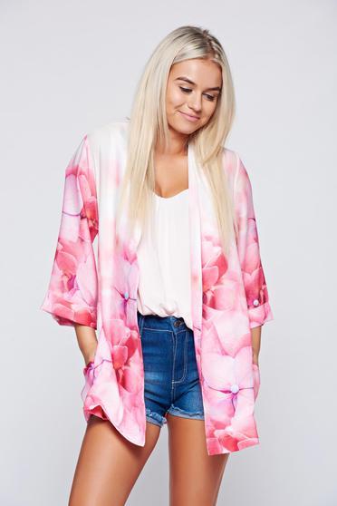 Kimono PrettyGirl roz cu croi larg accesorizat cu cordon
