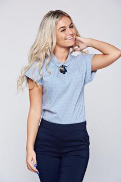 Bluza dama Fofy albastra-deschis office din bumbac cu maneca scurta