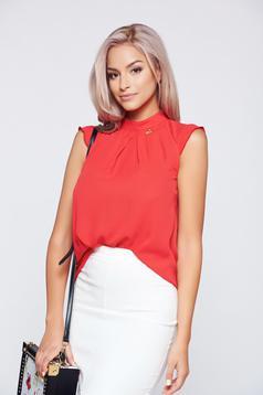 Bluza dama PrettyGirl rosie din material vaporos fara maneci
