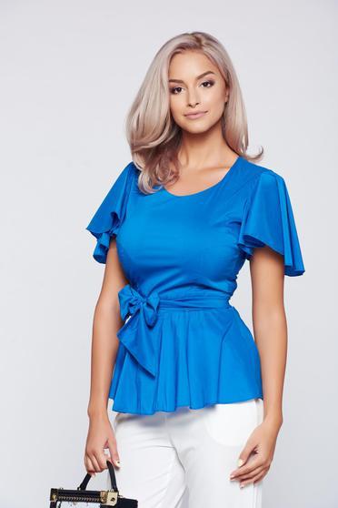 Bluza dama PrettyGirl albastra din material elastic cu maneci tip fluture