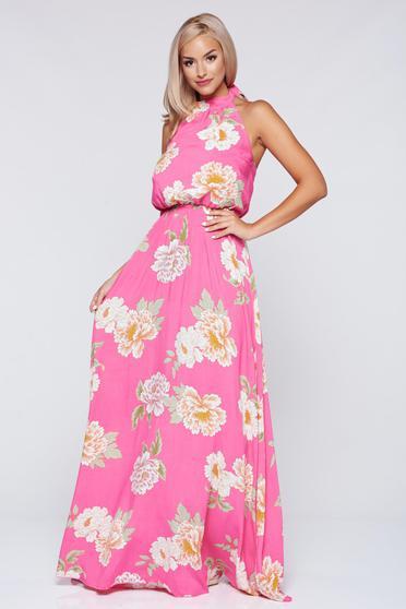Rochie PrettyGirl corai cu elastic in talie cu imprimeuri florale