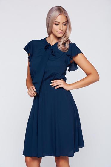 Rochie PrettyGirl albastru-inchis din voal cu elastic in talie cu maneci tip fluture