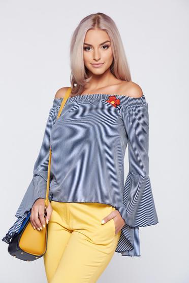 poze cu Bluza dama PrettyGirl albastru-inchis casual cu maneci clopot