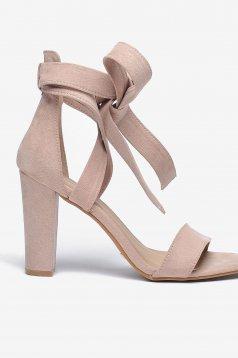 Sandale Top Secret rosa elegante cu accesoriu in forma de fundita