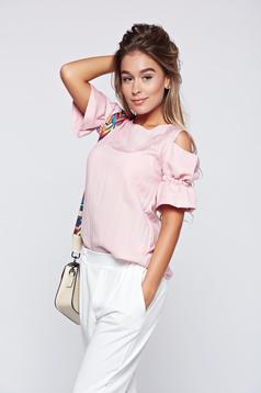 Bluza dama PrettyGirl rosa din material vaporos cu umeri goi