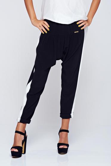 Pantaloni PrettyGirl negri casual cu elastic in talie