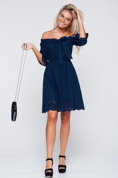 Rochie LaDonna albastru-inchis casual cu croi larg cu elastic in talie