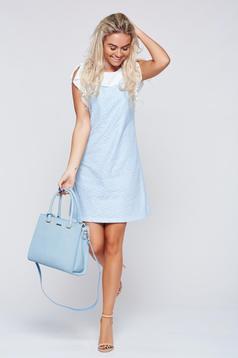 Rochie LaDonna albastra-deschis eleganta cu volanase la maneca