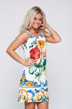 Rochie alba fara maneci cu imprimeuri florale