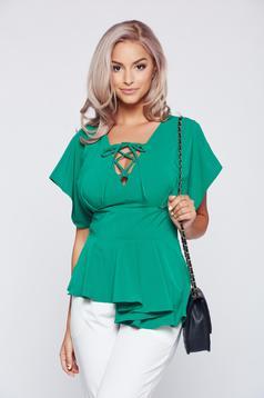 Bluza dama PrettyGirl verde eleganta cu decolteu cu volanas in talie